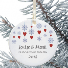 First Christmas Engaged Keepsake Decoration - Snowflake Hearts Design